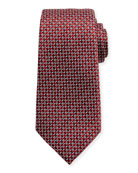 Neat Basketweave Silk Tie, Red