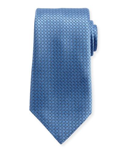 Textured Solid Silk Tie, Light Blue