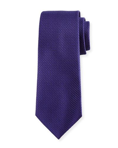 Textured Solid Silk Tie, Purple