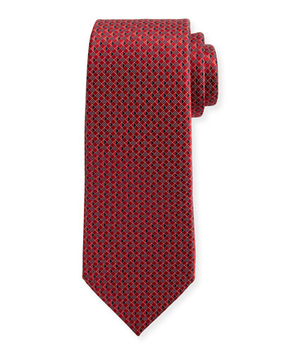 3D Micro-Diamond Neat Tie, Red