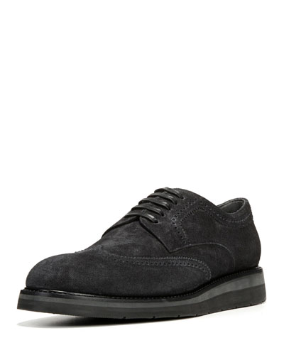 Pryce Denim-Suede Brogue Shoe, Black