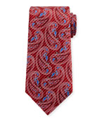 Etched Paisley Silk Tie, Red
