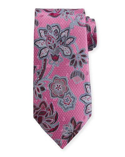 3D Floral Silk Tie, Pink