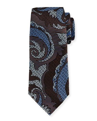 Quindici Paisley Silk Tie, Brown