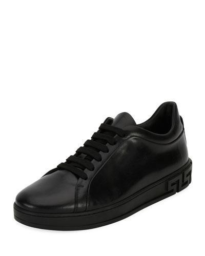 Men's Greca Leather Low-Top Sneaker, Black