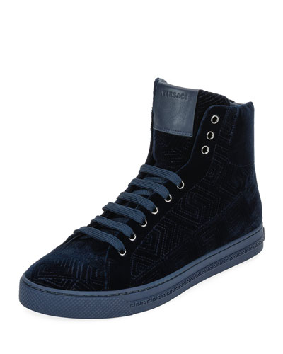 Greca Velvet High-Top Sneaker, Navy