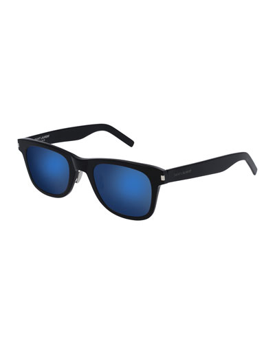 Classic 51 Slim Mirrored Sunglasses, Black
