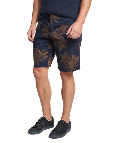 Leaf-Print Chino Shorts, Navy