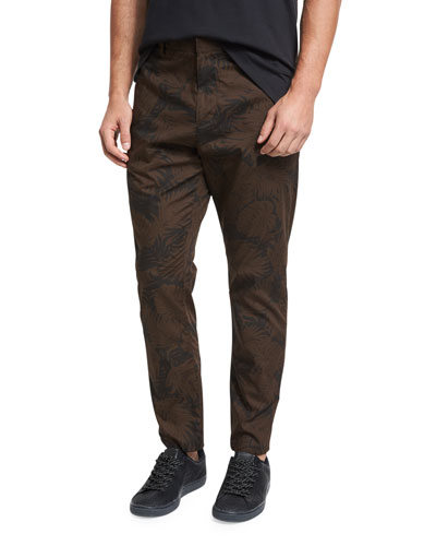 Tropical Leaf Chino Pants, Black/Brown