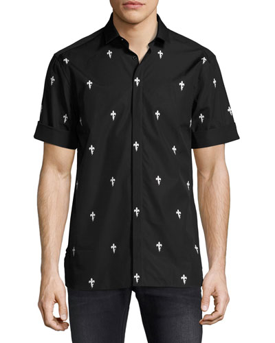 Fleur de Lis Lightning Bolt Short-Sleeve Shirt, Black