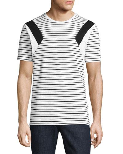Modernist Stripe Jersey T-Shirt, White/Black