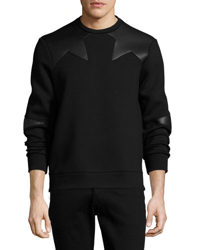 Neoprene Side-Zip Sweatshirt with Star Patches, Black
