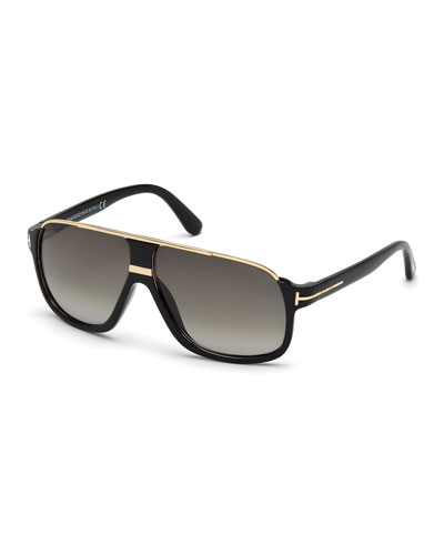 Elliot Universal-Fit Aviator Sunglasses, Shiny Black/Rose Golden