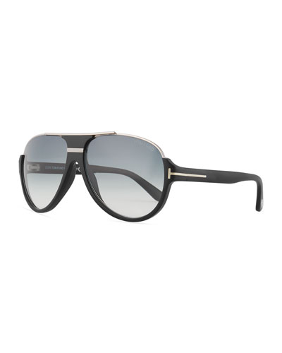 Dimitry Half-Rim Aviator Sunglasses, Matte Black/Shiny Dark ...