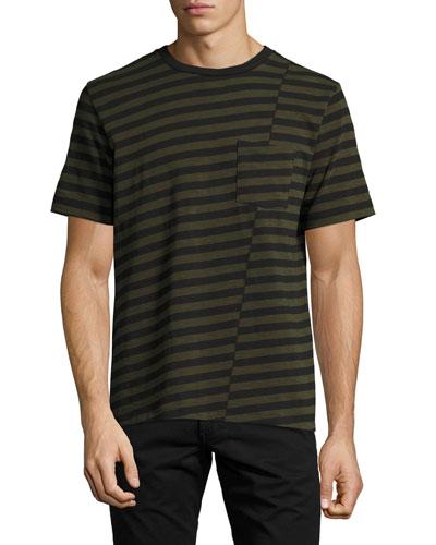 Blake Clashing-Stripes Crewneck T-Shirt, Olive