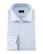 Gingham-Print Cotton Dress Shirt