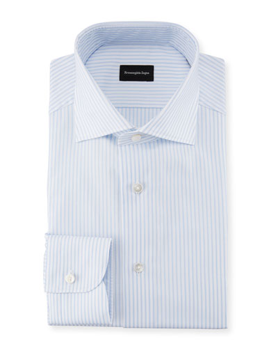 Striped Barrel-Cuff Dress Shirt, White/Light Blue