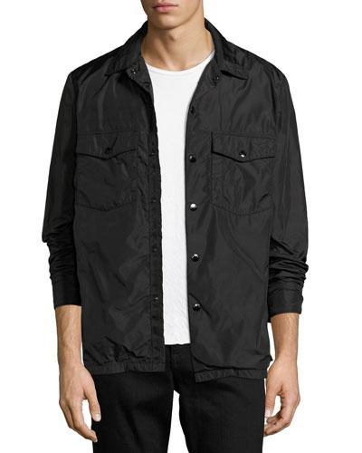 Heath Nylon Shirt Jacket, Black