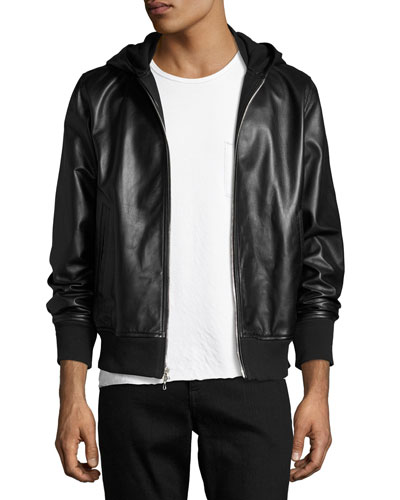 Men's Christopher Black Leather Hooded Bomber Jacket