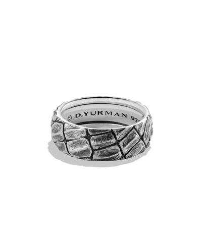 Men's 12mm Sterling Silver Naturals Gator Band Ring