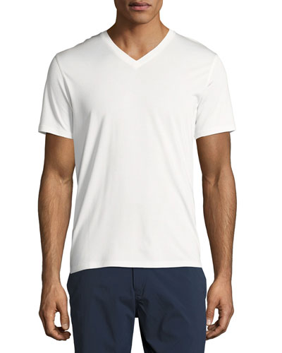 New Clay V Plaito Silk-Cotton Short-Sleeve T-Shirt, Ivory