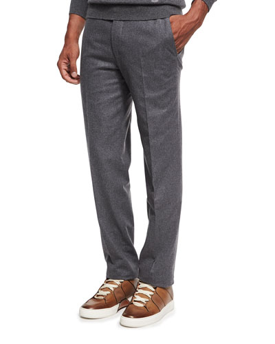 Wool Flannel Flat-Front Trousers