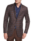 Plaid Trofeo® Wool Two-Button Blazer