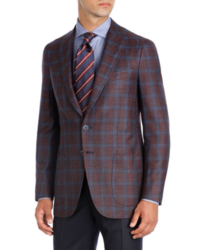 Plaid Wool-Silk-Linen Two-Button Sport Coat