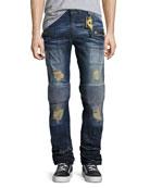 Moto-Style Cargo Jeans, Dark Blue