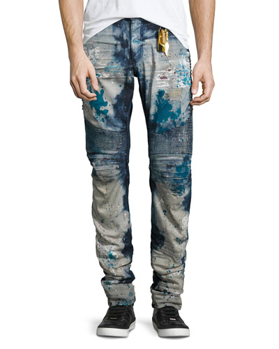 Distressed Slim-Fit Moto Jeans, Blue