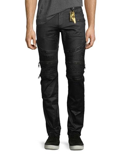 Zip-Detail Moto Racer Jeans