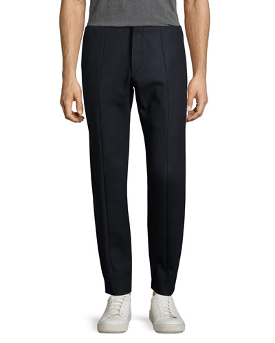 Wool-Cashmere Trouser-Style Jogger Pants, Black