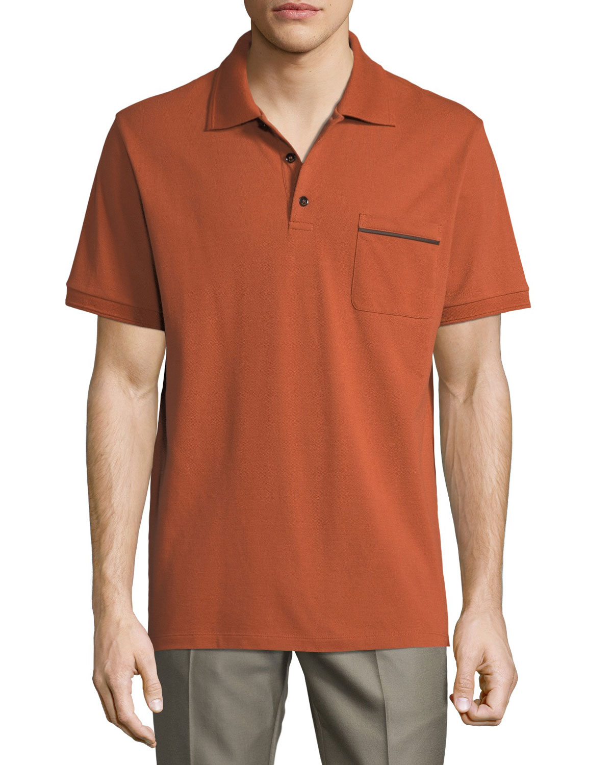 Berluti POLO SHIRT WITH LEATHER DETAIL