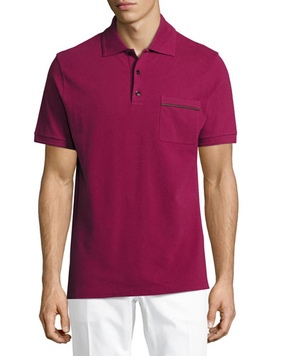 Leather-Trim Polo Shirt, Prickly Pear
