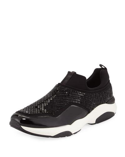 Crystal Slip-On Sneaker, Nero
