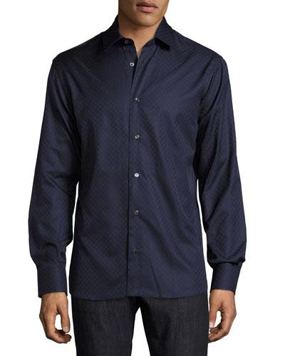 Tonal Gancini-Print Jacquard Shirt, Navy