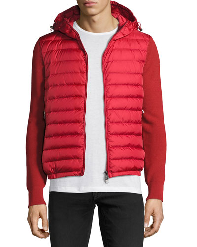 Hooded Puffer-Front Zip Sweater