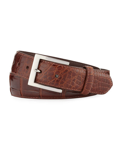 Glazed Alligator Belt with Interchangeable Buckles, Brown