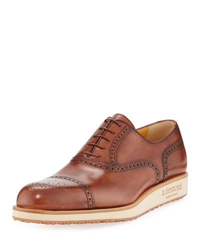 Leather Lace-Up Lug-Sole Derby Shoe, Brown