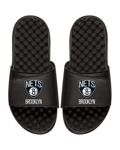 ISLIDE Men'S Nba Brooklyn Nets Primary Slide Sandals, Black
