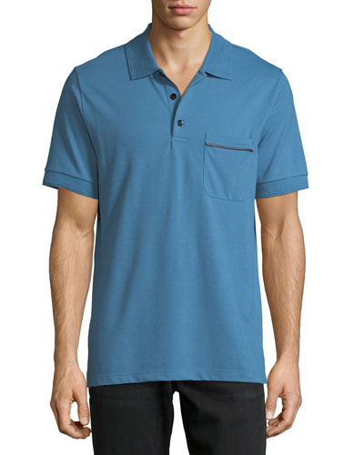 Leather-Trim Polo Shirt, Marine Blue