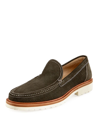 Perforated Slip-On Loafer with Rubber Sole, Green
