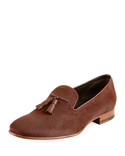 Perforated Calf Hair Tassel Loafer, Brown