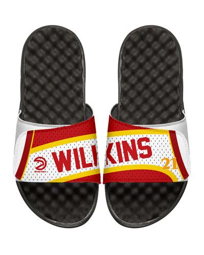 ISLIDE Men'S Nba Retro Legends Dominique Wilkins #21 Jersey Slide Sandals, White