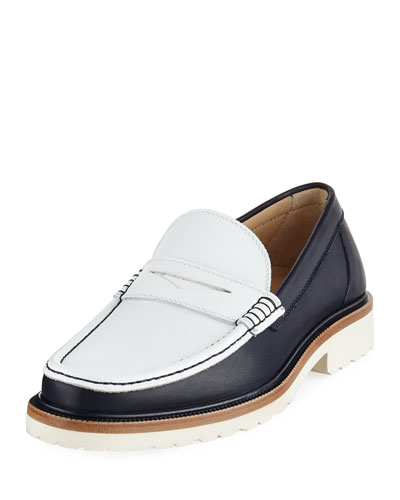 Two-Tone Leather Penny Loafer