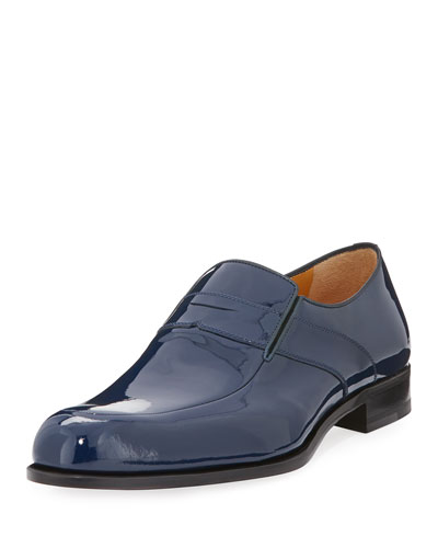 Patent Leather Loafer, Navy