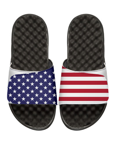Men's American Flag Slide Sandals, White