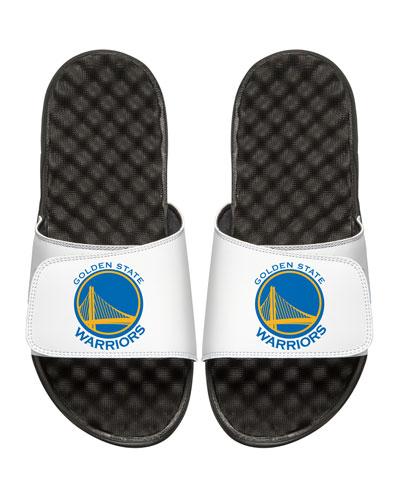 ISLIDE Men'S Nba Golden State Warriors Primary Slide Sandals, White