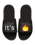 It's Lit Emoji Slide Sandal, Black