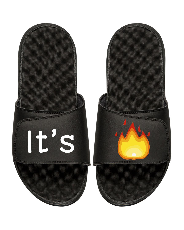 It's Lit Emoji Slide Sandal, Black